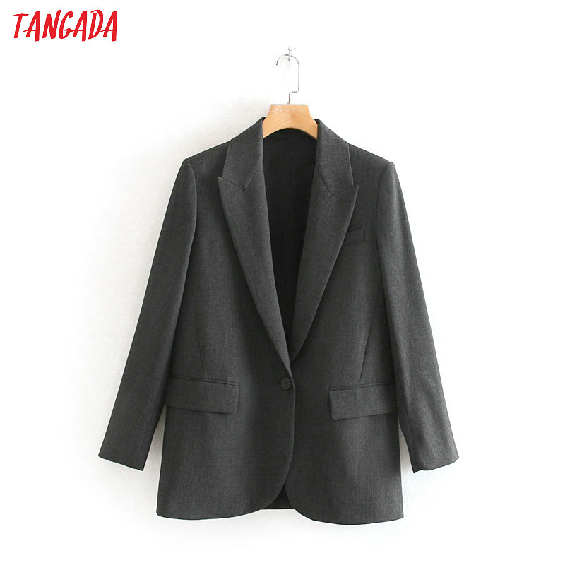 Tangada Women Vintage Gray Suit Blazer Female Long Sleeve 2019 Elegant Jacket Ladies Work Wear Blazer Formal Suits  2W56