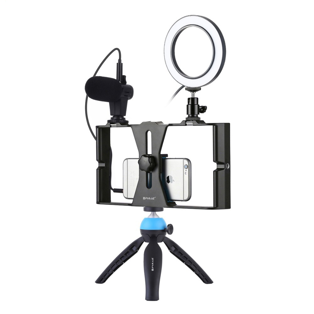 PKT3025 Photo Studio Rig Stabilizer Holder Vlog Video Ring Light Microphone For IPhone For Samsung For Xiaomi For Huawei Phone