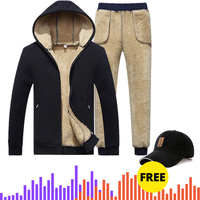 with free gift Winter Men Set Warm Thick Hooded Jacket+Pants 2PC Sets Men Lamb cashmere Hoodies Zipper Tracksuit Man Sports Suit