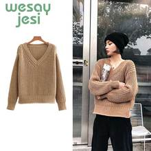 2019 New Knitwear Winter Pullovers Sweaters Women Autumn V-neck Loose Sweater Jumper Female Solid Khaki Chic Sweater Tops new autumn winter sexy midriff baring sweaters loose solid knitted pullovers casual deep v neck sweater knitwear