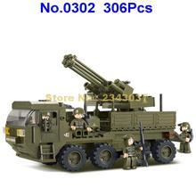 Sluban 306pcs militare ww2 esercito truppe pesante camion di trasporto 4 building block Giocattolo