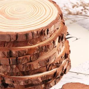 Image 4 - WINOMO 10pcs 10 12 ซม.ธรรมชาติไม้แผ่นเข้าสู่ระบบแผ่นที่ยังไม่เสร็จไม้ธรรมชาติรอบชิ้นวงกลมสำหรับ DIY งานฝีมืองานแต่งงาน Decor