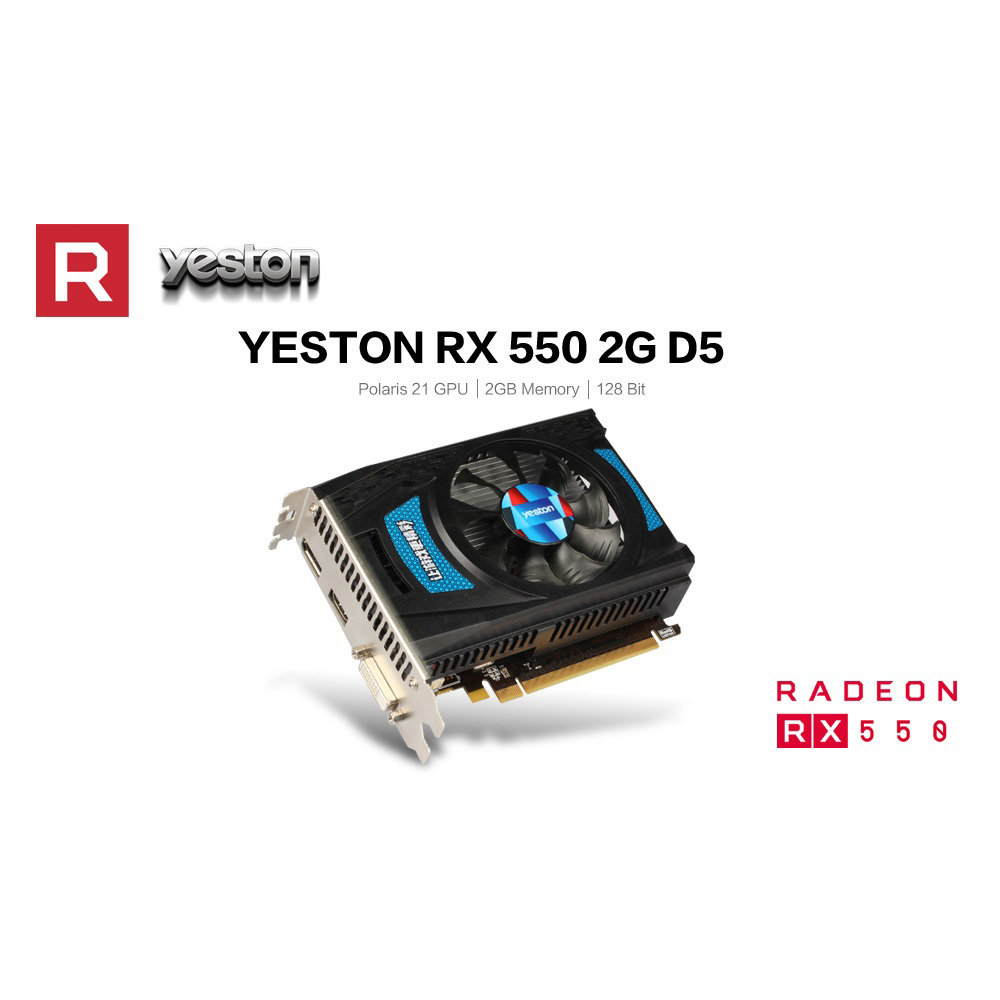 Yeston RX550-2G D5 TA Graphics Cards Radeon Chill 2GB Memory GDDR5 128Bit 6000MHz DP+HDMI+DVI-D Small Size GPU 5