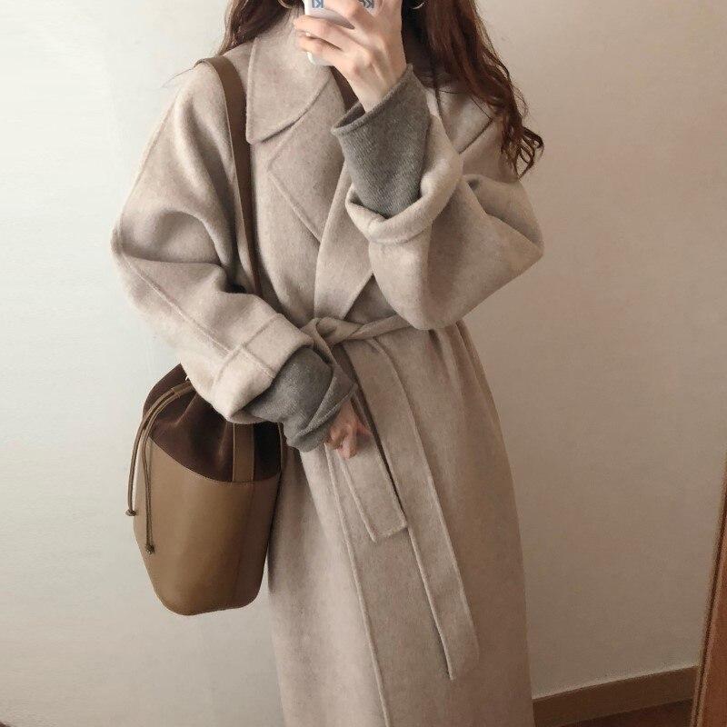 19 Winter Oversize Long Trench Coat Women Cashmere Coat Korean Lady Windbreaker Outwear Streetwear 51