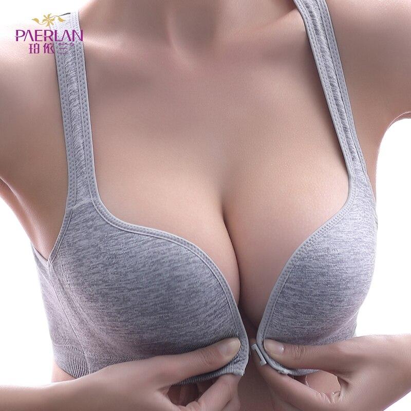 Спортивный бюстгальтер PAERLAN, застежка спереди, маленькая грудь, 3/4 чашки, пуш ап жилет, удобное бесшовное цельное нижнее белье для женщин|Бюстгальтеры|   | АлиЭкспресс