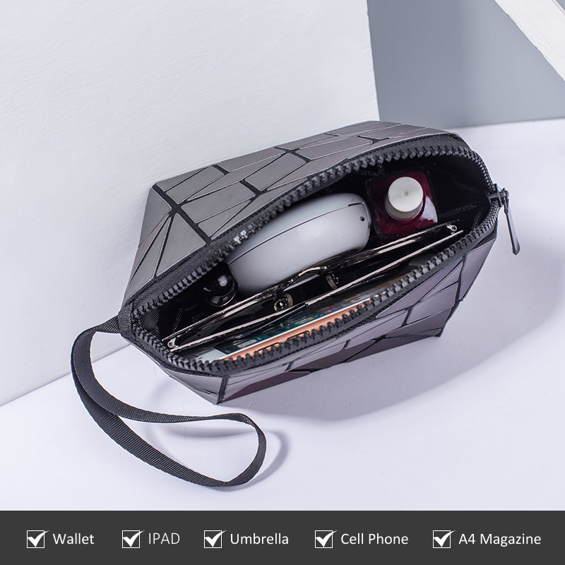 Women makeup bags cosmetic bags for ladies geometric luminous color small foldable clutch luxury handbags women bags designer in Cosmetic Bags Cases from Luggage Bags