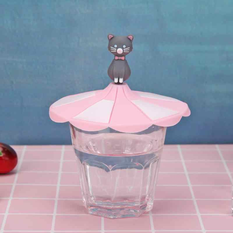 Cute Cartoon Silicone Cup Lid Heat Resistant Sealed Cap Leakproof Cups Cover Heat Resistance Up To 230 Degrees Celsius