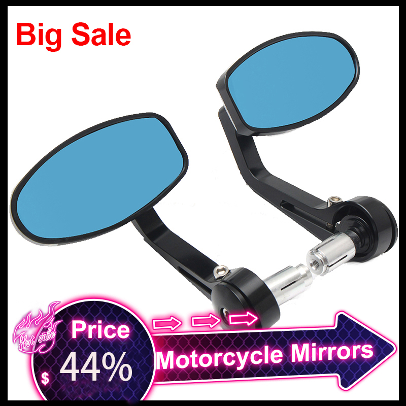 A Pair 7/8 22mm Universal CNC Motorcycle Bar End Black Rearview  Side Mirrors for Triumph Speed Triple Motocross AccessoriesSide Mirrors
