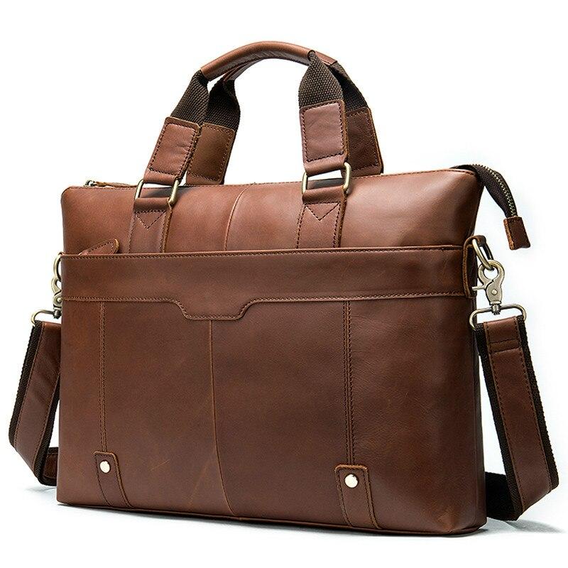 Men's Briefcase Cow Leather Laptop Bag Men's Genuine Leather Office Bag For Men's Business 14inch Document Messenger Bag Men