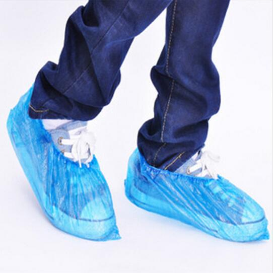 100pcs New Cleaning Blue Hot 2016 Fashion Elastic Overshoe Carpet Protective Plastic Shoe Covers Disposable Popular Convenience