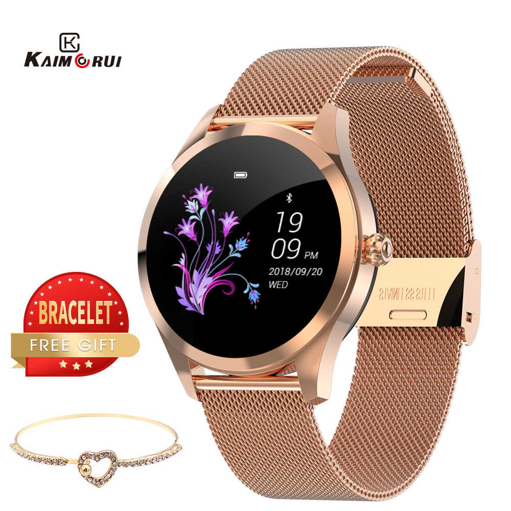 2020 Smart Orologio Donne di pressione sanguigna KW10 Frequenza Cardiaca Bluetooth Smart Watch in IP68 Impermeabile Smartwatches Orologio per IOS
