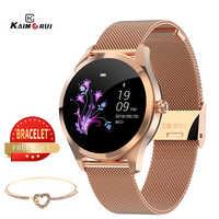 2019 nouvelle montre connect femmes KW10 fréquence cardiaque Bluetooth montre intelligente IP68 étanche montre connecté