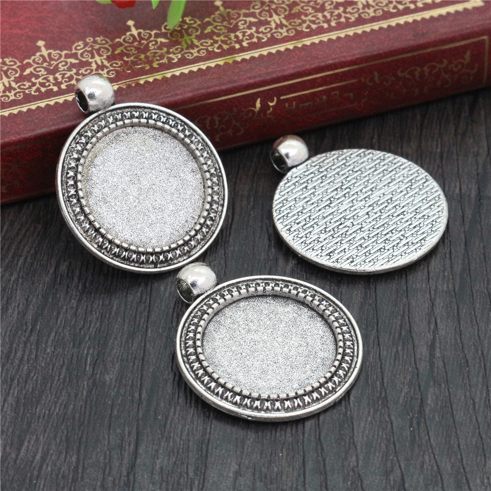 4pcs 20mm Inner Size Antique Silver Plated Classic Style Cabochon Base Setting Charms Pendant (D2-09)