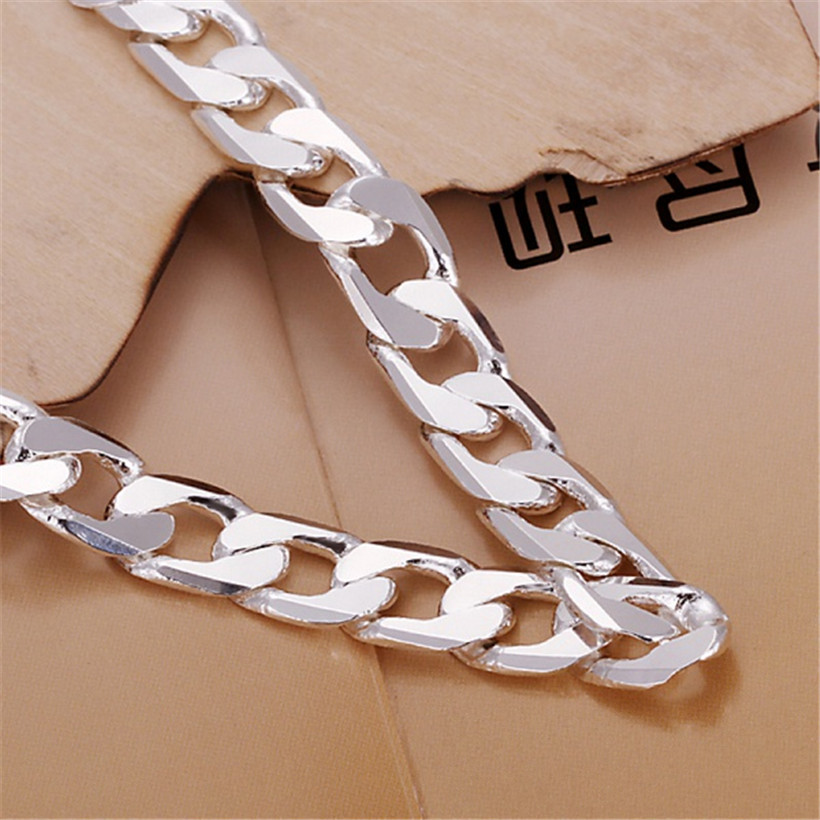 Classic , 6MM 8MM 10MM flat MEN bracelet silver color bracelets new high quality fashion jewelry Christmas gifts H262 3