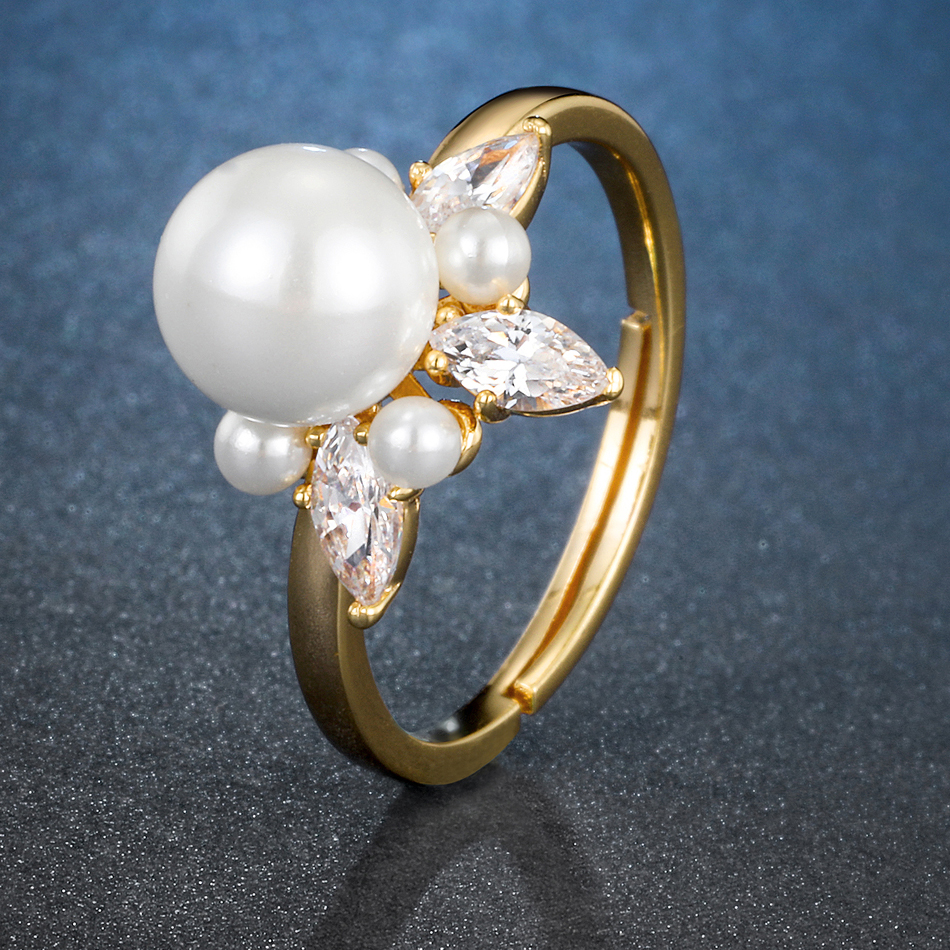 Image 3 - ALLNOEL 925 Sterling Silver Real Zircon Pearl Ring Female Yellow Gold Color Resizeable Party Trendy womens Silver 925 jewelry-in Rings from Jewelry & Accessories