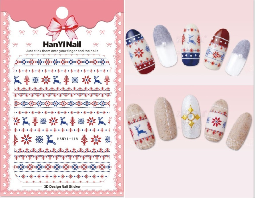 Hanyi Nail Sticker Snowflake Nail Decals Thin Adhesive Paper Christmas Reindeer Ethnic-Style Nail Polish Plastic Sticker