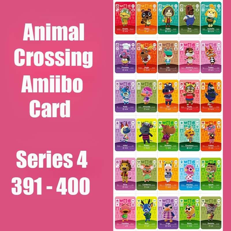 Series 4 (391 To 400) Animal Crossing Card Amiibo Card Work For NS 3DS Switch Game Animal Crossing Amiibo Card Original Function