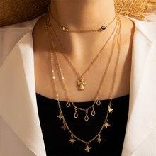 Docona Модные Крылья Ангела звезда многослойное ожерелье с подвеской