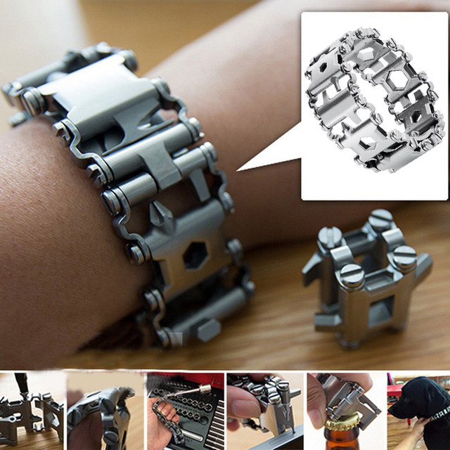 29 in 1 Multifunction Tool Tread Bracelet Stainless Steel Outdoor Bolt Driver Tools Kit Travel Friendly Wearable Multitool Tool