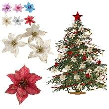 10 шт. Рождественская елка, орнамент, венок, подарок, вечерние украшения, для дома, блестки, пуансеттия, искусственные цветы, праздничный стол, поддельные Свадебные