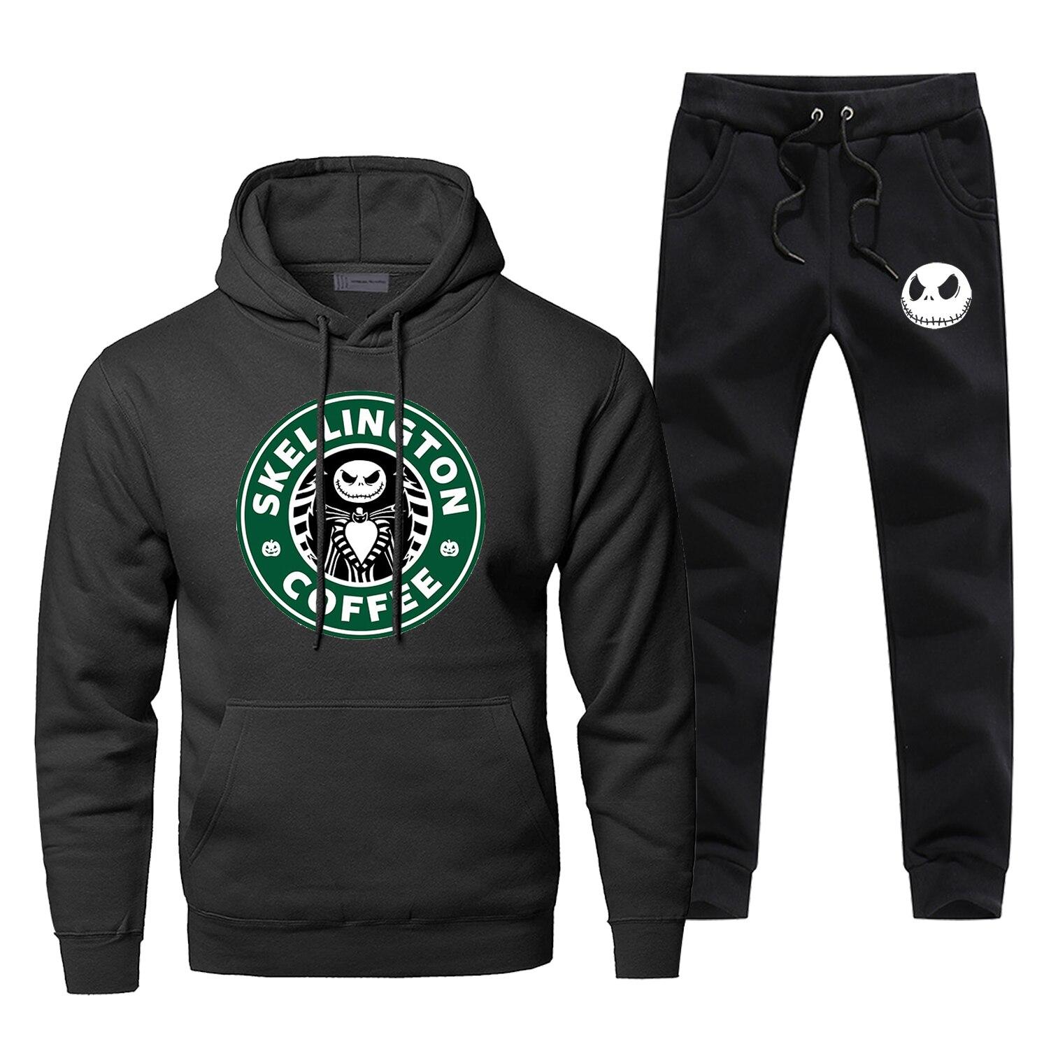 Skellington Jack Coffee Sportsman Wear Casaul The Nightmare Brand Man Tracksuit Fleece Sweatpants Fashion Fitness Men's Jogging