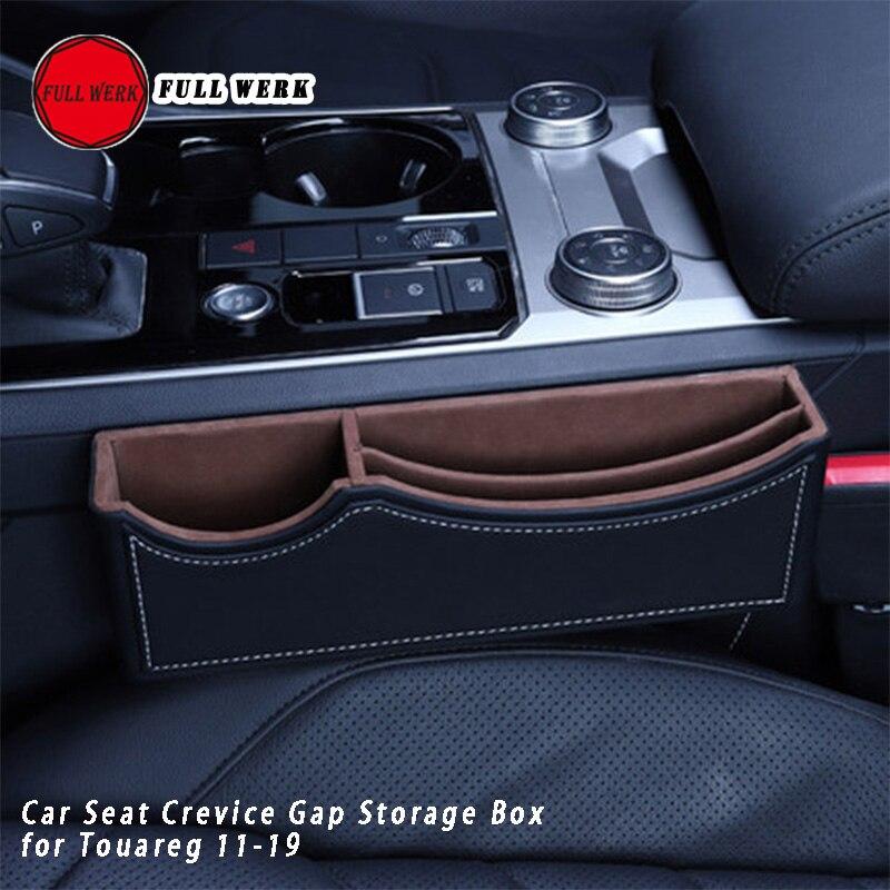 1pc Leather Car Seat Crevice Gap Storage Box Orangizer Console Case for Touareg 11 19 Interior Accessories