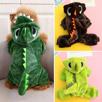 Funny Dinosaur Dog Clothes Halloween Christmas Costume Winter Coat Fleece Dogs Jumpsuits Jacket For Small Medium Large Dog image