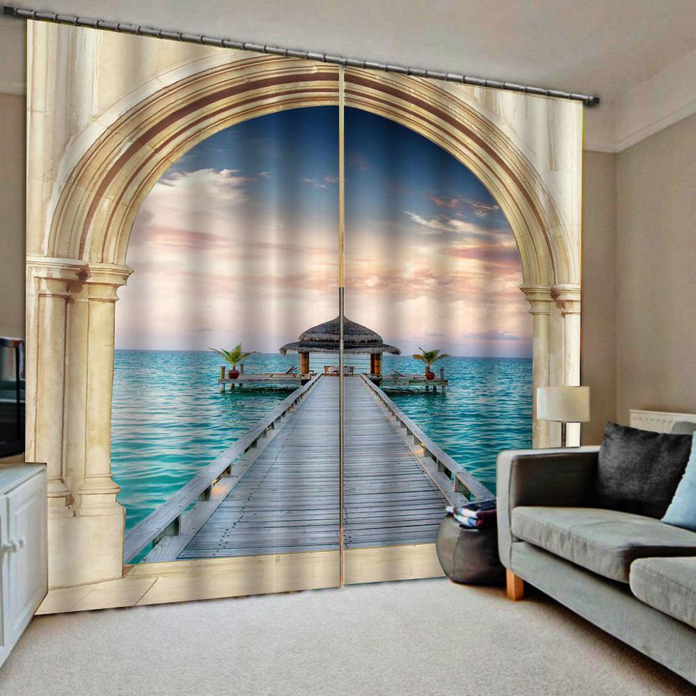 sedside curtains wood birdge curtain 3D Window Curtain Dinosaur print Luxury Blackout For Living Room  blackout curtain