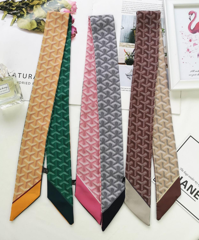 Classic Luxury Skinny Scarf Geometry  Print Fashion Women Silk Scarf Small Handle Bag Ribbons Female Head Scarves&Wraps B84