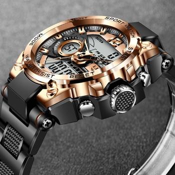 LIGE Sport Military Wrist Watch Men Watches Brand Male Watch For Men Clock Dual Display Wristwatch Army Outdoor Waterproof Watch