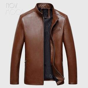 Image 1 - Vestes daffaires en cuir homme, 4 couleurs, manteau en peau de mouton véritable, chaqueta moto hombre LT047