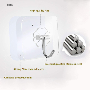 6x6cm Transparent Strong Self Adhesive Door Wall Hangers Hooks Suction Heavy Load Rack Cup Sucker for Kitchen Bathroom image