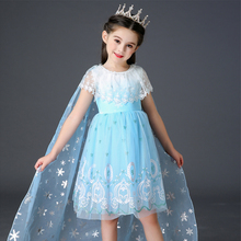 Girls Party Dress Kids Princess Dresses Children Cosplay Snow Queen Elsa Elza Costume Carnival Birthday Disguise Lace Clothing girls elsa elza princess dress kids summer costume with cape children clothes halloween birthday party cosplay fantasia dress