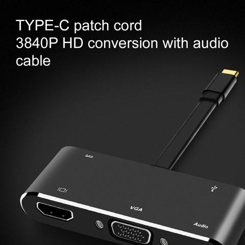 Usb para Hdmi Tipo-c para Hdmi + Vga + Áudio + Usb3.0 + pd Hdmi Adaptador hd 1080 p Multi-display 5in1 Vga 4 k