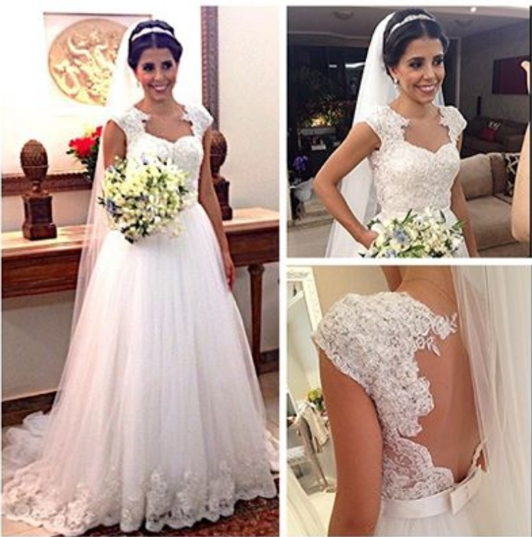 Vestido De Noiva Curto Cap Sleeve Lace Appliques See Through Sexy Backless Bow Bridal Gown 2018 Mother Of The Bride Dresses