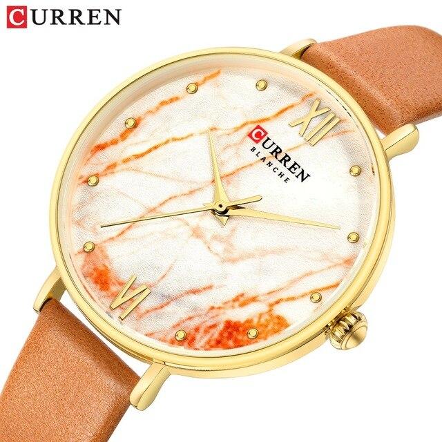 Новинка, женские часы, оранжевая кожа, роскошный бренд, Reloj Mujer Zegarek Damski, водонепроницаемые, женские, CURREN, деловые часы, Montre Femme