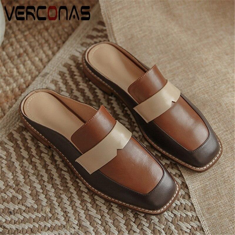 VERCONAS Mules Fashion New Arrival Woman Pumps Genuine Leather Woman Sandals Elegant Shoes Square Toe Square Heels Shoes Woman