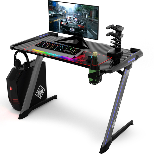 Costway Z-Shaped Gaming Computer Desk RGB LED Lights w/USB Handle Rack & Large Mouse Pad 1