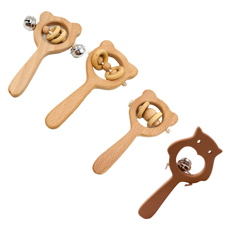 Baby Toys Beech Wood Bear Hand Teething Wooden Ring Can Chew Beads Baby Rattles Play Gym Montessori Stroller Toys