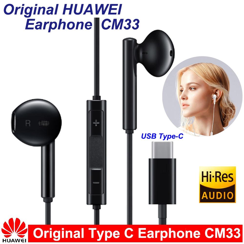 Оригинальные наушники Huawei CM33 Type C, классические наушники с микрофоном, регулятор громкости для Mate 10 Pro P20 Por P30 P30 Pro XIAOMI MI9 MIX2