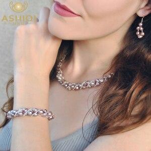 Image 1 - ASHIQI Natürliche Süßwasser Perle Schmuck Sets & Mehr Hand gestrickte Halskette Armband Ohrringe für Frauen NE + BR + EA