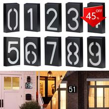 Lampa słoneczna LED numery ogrodowe adres znak podświetlana dioda LED tablice zewnętrzne i Wall Art oświetlone do domu Yard Street tanie tanio CN (pochodzenie)