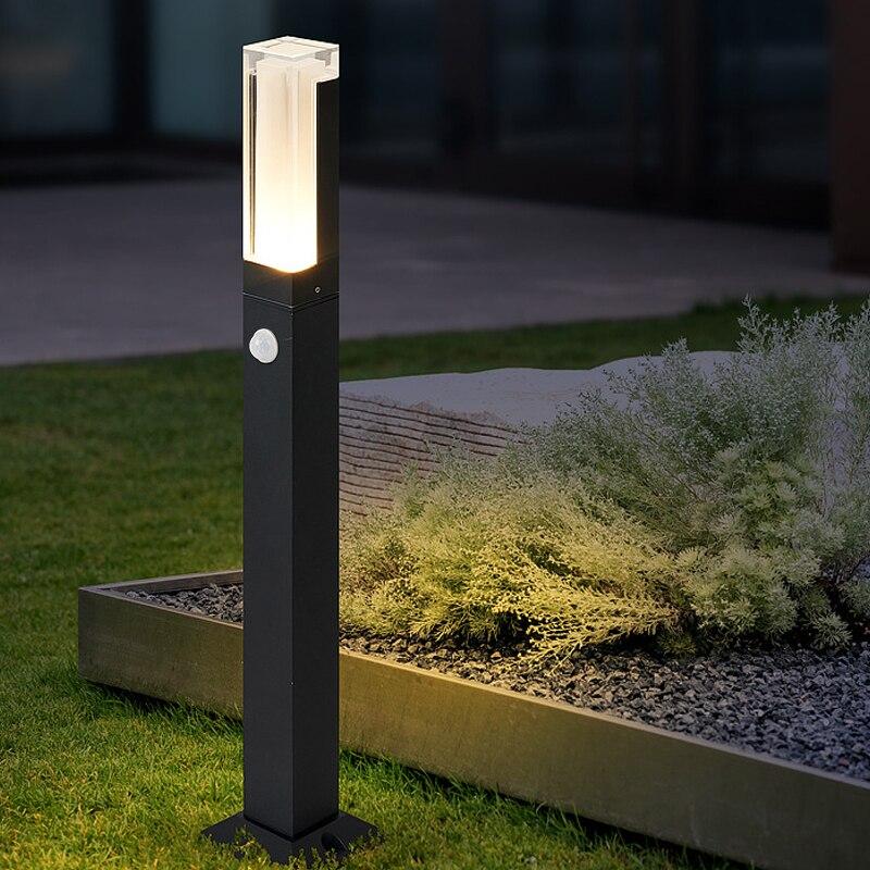 Outdoor Motion Sensor Led Garden lawn Light Modern Aluminum Lawn Lamp 10W LED Landscape light for Courtyard Villa AC85-265V