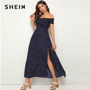 Image 3 - Shein 네이비 오프 숄더 프릴 트림 셔링 스플릿 허벅지 폴카 도트 드레스 여성 여름 피트와 플레어 하이 웨스트 boho 맥시 드레스