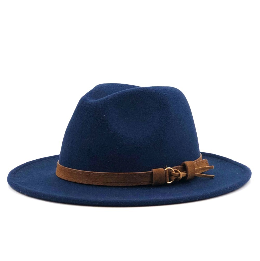 H4168f66f6f3043a58eab5819ddf20f6ea - Women Men Wool Fedora Hat With Leather Ribbon Gentleman Elegant Lady Winter Autumn Wide Brim Jazz Church Panama Sombrero Cap
