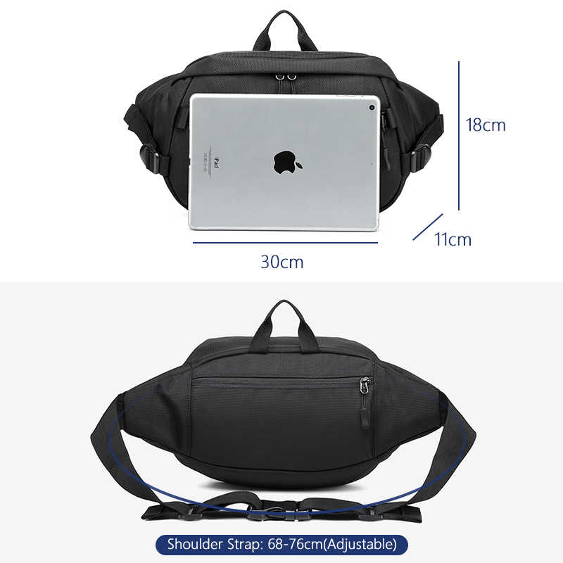 OZUKO bel paketleri erkekler için seyahat fanny paketi kemer erkek küçük bel çantası telefon para çantası açık spor omuz askılı postacı çantaları