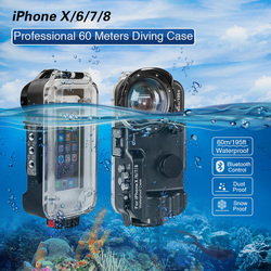 Bluetooth Control Waterproof Case For iPhone 6/7/8/X Cover 60m/195ft Diving Surfing Swimming Underwater Protective Housing