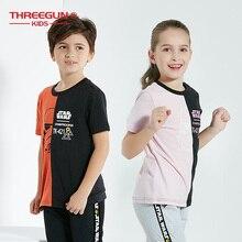 Threegun X Star Wars лопковые футболки для мальчиков и девочек с принтом «Звездные войны»; детская футболка с короткими рукавами и рисунком; весенне летняя футболка; детский топ