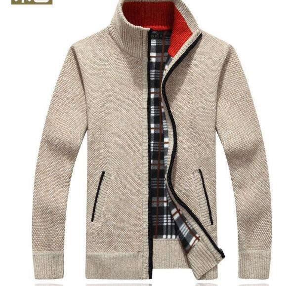 Men Zipper Knitted Thick Coat Casual Knitwear M-3XL Nice Autumn Winter Men SweaterCoat Faux Fur Wool Sweater Jackets