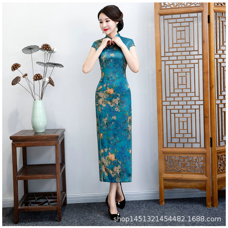 Plus Size 5XL 6XL New Rayon Traditional <font><b>Chinese</b></font> Women Simple <font><b>Dress</b></font> Vintage Lady Floral Vietnam Long Qipao Summer <font><b>Sexy</b></font> Cheongsam image